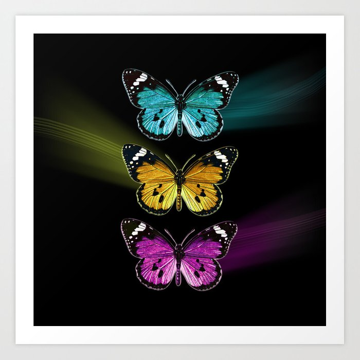 3 Colorful Butterflies Art Print By Vannina Society6