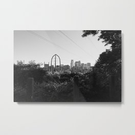 Minneapolis Minnesota Skyline Black and White Metal Print