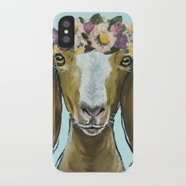 Goat Art, Flower Crown Animal, Cute Goat Painting iPhone Case