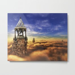 Fantasy Castle Sky Tower On Cloud Metal Print