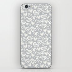 MESSY HEARTS: IVORY GRAY iPhone Skin