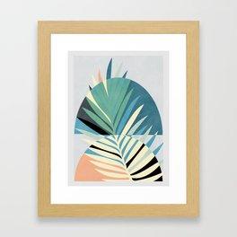palm leaf minimal mid century modern Framed Art Print