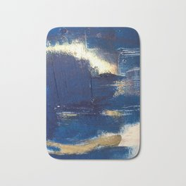 Halo [2]: a minimal, abstract mixed-media piece in blue and gold by Alyssa Hamilton Art Bath Mat