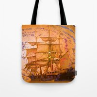 pirate ship Tote Bags featuring pirate ship by Moonlight Creations