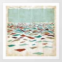 rug Art Prints featuring Sea Recollection by Efi Tolia