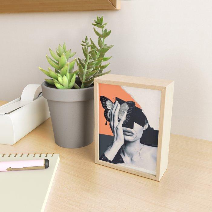 collage art / butterfly Framed Mini Art Print