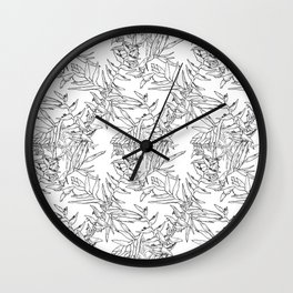 Monochrome tropical flowers Wall Clock