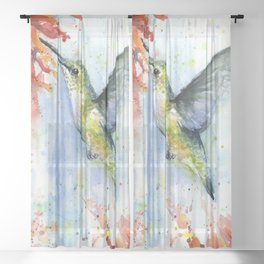Hummingbird Red Flower Watercolor Bird Sheer Curtain