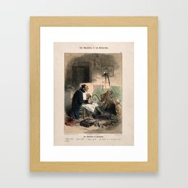 A doctor administers an enema to a dog; other bandaged animals sit nearby. Coloured lithograph by C. Framed Art Print