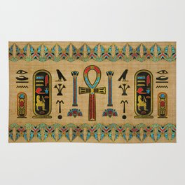 Egyptian Cross - Ankh Ornament on papyrus Rug