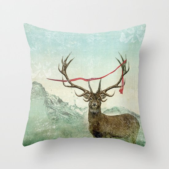 hold deer, tsunami Throw Pillow