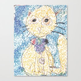 Cute Yellow Cat With Scarf Canvas Print