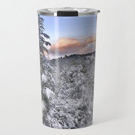 """Mountain light II"". Snowy forest at sunset Travel Mug"