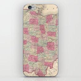 Vintage Map of Ohio (1864) iPhone Skin