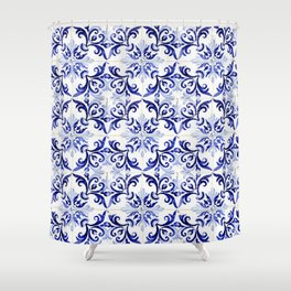 Azulejo V - Portuguese hand painted tiles Shower Curtain
