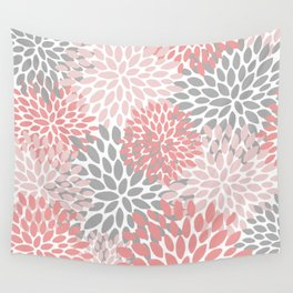 Floral Pattern, Coral Pink and Gray Wall Tapestry