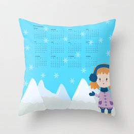 2019 Snow Calendar Throw Pillow