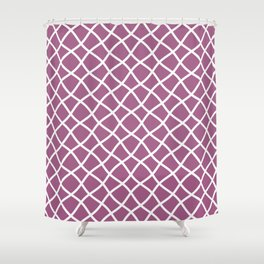Mauve and white curved grid pattern Shower Curtain