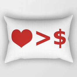 Love is more important  than Money Concept Illustration Rectangular Pillow