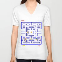 simpsons V-neck T-shirts featuring simpsons V pacman  by Yousef