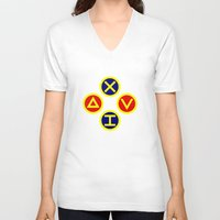 playstation V-neck T-shirts featuring Playstation Footballer by Dale Roots