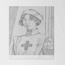 Nurse pencil sketch Throw Blanket