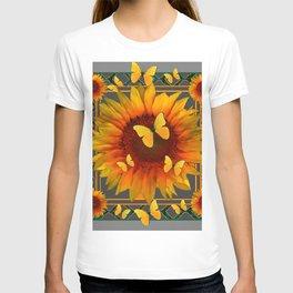 GREY KANSAS YELLOW  SUNFLOWERS BUTTERFLY DECO T-shirt