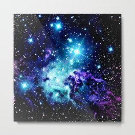 Fox Fur Nebula Turquoise Blue Purple Black Metal Print