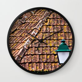 Weathered Terracotta Tile Roofs Wall Clock