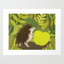 Cute Hedgehog with his Apple Art Print