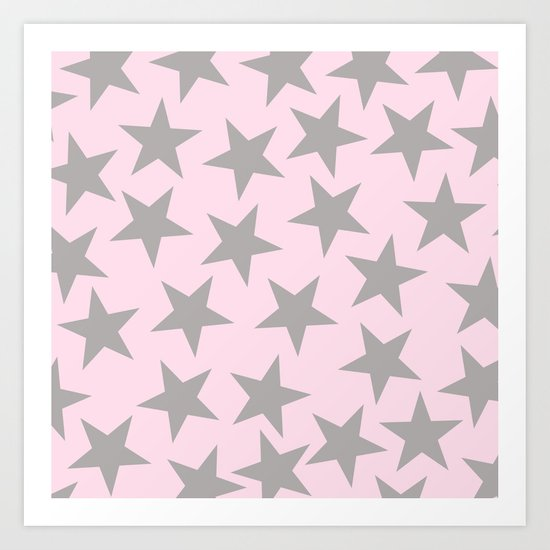 Grey stars on pink background pattern Art Print