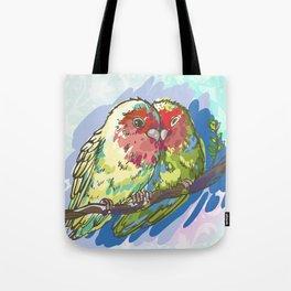 Expressive Parrots Lovebirds Tote Bag