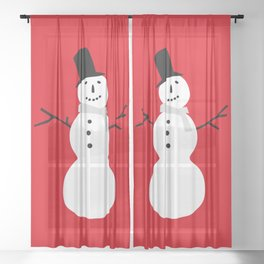 Christmas Snowman-Red Sheer Curtain