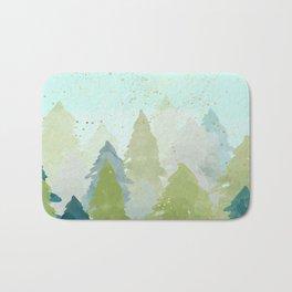 Merry Xmas- Teal Winter Forest Bath Mat