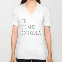 tequila V-neck T-shirts featuring Tequila by Sara Eshak