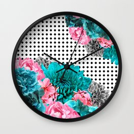 Posy For Dee PinkTeal Wall Clock