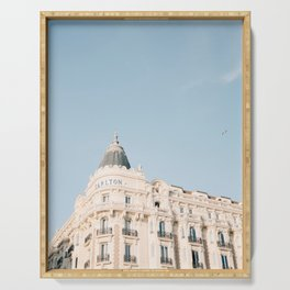 Carlton hotel Cannes South of France Riviera   Architecture photography print   Pastel colored Serving Tray