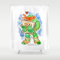teenage mutant ninja turtles Shower Curtains featuring Teenage Mutant Ninja Turtles Hug by Super Group Hugs