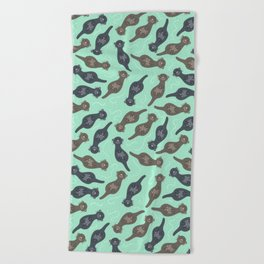 Happy Cute Otters Beach Towel