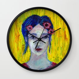 Red Flowers in Her Hair Wall Clock