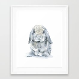Mini Lop Gray Rabbit Watercolor Painting Framed Art Print