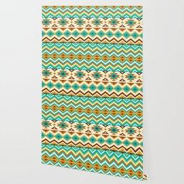 Native Aztec Brown Tribal Rug Pattern Wallpaper