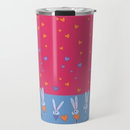 St. Valentine's Day Pattern. Pink pattern, on the blue field, white bunny hold blue and yellow heart Travel Mug
