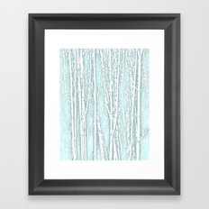 Birch Trees Pattern Pastel Blue Framed Art Print
