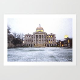 Christopher Newport Hall in the Snow Art Print