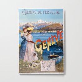Vintage French Travel Poster: Paris-Lyon-Mediterranean - Geneva (1895) Metal Print