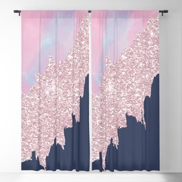 Pink navy blue watercolor brushstrokes glitter Blackout Curtain