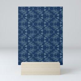Floral leaf motif sashiko style japanese needlework pattern. Mini Art Print