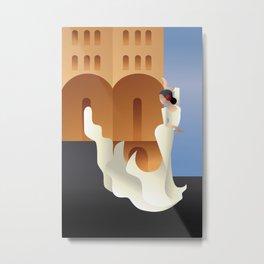Art Deco Spain Flamenco dancer on sity landscape Metal Print