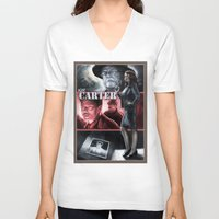 agent carter V-neck T-shirts featuring Agent Carter Color by rnlaing